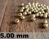 50 Pcs (5 mm)  Brass Beads - Round beads -Brass Spacer-