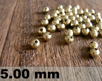 50 Pcs (5 mm)  Brass Beads - Round beads -Brass Spacer-
