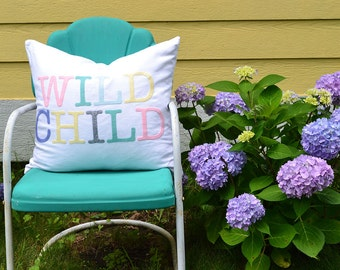 Word Pillows Wild Child Pillow Nursery Decor Pastel Pillow Cover Felt Pillow Gift for Mom Gift Under 40 20x20 Pillow Colorful Pillow
