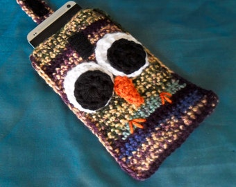 Crochet Owl Cell Phone Pouch - Songbird Stripes