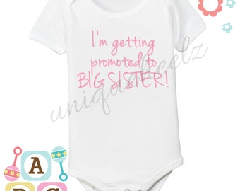 I'm getting promoted to big brother/sister personalized bodysuit - girl - boy - twins - made to order - any size