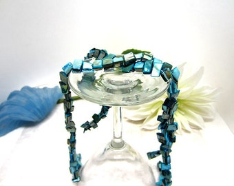 """Beads Mother of Pearl Chips Teal 16"""" Strand"""