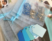 """30 wedding favors  or baptism favors 30 pcs Organza bags, 4"""" x 6"""" organza bag ,30 blue mini  rosaries  favor and 30 blue tags , turquoise,"""
