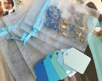 "45 wedding favors  or baptism favors 30 pcs Organza bags, 4"" x 6"" organza bag , 45 blue mini  rosaries  favor and 45 blue tags , turquoise,"
