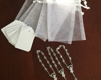 "30 wedding favors  or baptism favors 30 pcs Organza bags, 4"" x 6"" white organza bag ,30 white  mini  rosaries  favor and 30 white tags ,"