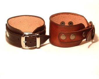 Hard leather bracelet with buckle