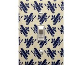 Airplane Light Switch Plate Cover / Baby Boy Nursery / Vintage Plane Kids Room / Navy Blue and White Japanese Fabric / Kokka