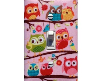 Owl Light Switch Plate / Pink Green Red Blue Owls Girls Room Nursery Decor / Bedroom Bathroom / Happy Flappers Riley Blake