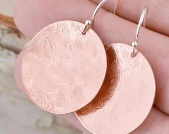 Copper Earrings - Copper Circle Earrings - Dangle Earrings - Copper Jewelry - Patterned Texture - Disk Earrings