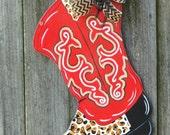 Cowboy Boot Door Hanger, Cowgirl Boot Door Hanger, Western Boot, Red Boot, Leoperd Boot, Country Decor