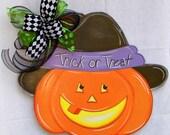 Pumpkin Door Hanger, Jack O Lantern Door Hanger, Halloween Door Hanger, Trick Or Treat, Fall Decor