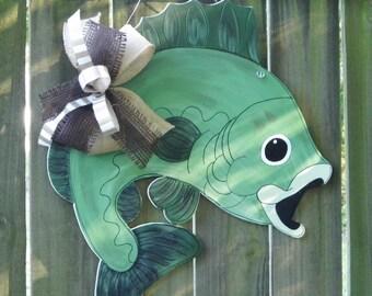 Fish Door Hanger, Bass Door Hanger, Green Fish ,Cabin Door Decor, Camping, At The Lake
