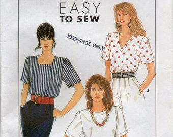 Pullover Top With Short Sleeves And Top Stitching Size 6 8 10 12 14 Blouse Or Shirt Easy To Sew Sewing Pattern 1996 Simplicity 8971