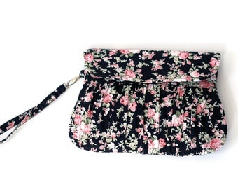 Pink and Black Floral Clutch, Bridesmaid clutches, bridesmaid gift, gathered clutch, cosmetic case, wristlet purse