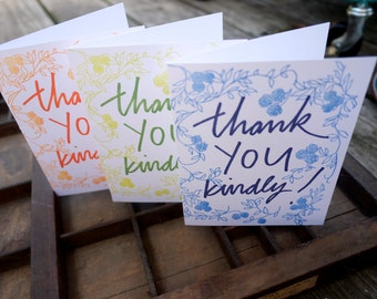 Thank You Kindly Colorful Letterpress Card Set of 6