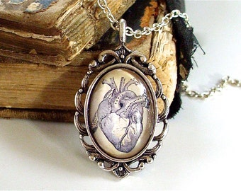 Anatomical Heart Necklace - Antique Anatomy Print Pendant in Silver