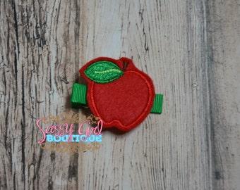 Girls Felt Hair Clip-Fruit- Hair Accessories-Back To School-Red Teacher Apple -Embroidered Boutique Felt Hair Clippie-No Slip Grip