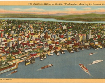 Linen Postcard, Aerial View of Seattle, Washington, Business District and Harbor, 1945