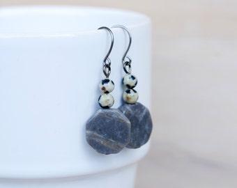 Hexagon Jasper Earrings, Gemstone, Dangle Earrings, Natural Stone, Grey Earrings, Drop, Dalmatian Jasper