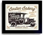 Baking Gift Boston Art Bakery Sign Kitchen Decor Art Print Bakery Truck Rolling Pin Bakes Bread Pies Cakes Cookies