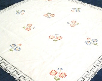 BLACK FRIDAY SALE white square linen table cloth, hand embroided table cloth,  lace tablecloth, white table linnen