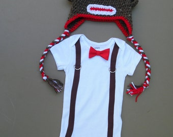 Baby Sock Monkey Hat and Bodysuit Suspender with Bow Tie, Baby Boy Outfit, Baby Boy Suspender