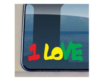 One Love Decal Hawaiian Reggae Vinyl Stickers - 195