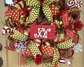 Christmas Deco Mesh Wreath~ Deco Mesh Wreath~ Merry Christmas Wreath
