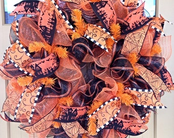 Halloween Wreath~ Halloween Decor ~Deco Mesh Wreath