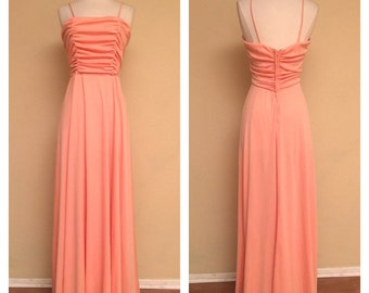 1970s Full Length Flowy Peach Dress Gown Great for Spring Summer Weddings Size Small Medium