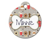 Morning Breakfast - Personalized Pet Tags, Custom Pet Tags, Dog ID Tags, Cat ID Tag, Dog Tags for Dogs, Designer Pet Tags - Pattern Pet Tags