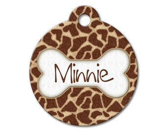Giraffe - Dog ID Tags, Cat ID Tags, Dog Tags for Dogs, Designer Pet Tags, Personalized Pet Tags, Custom Pet Tags - Pattern Pet Tags