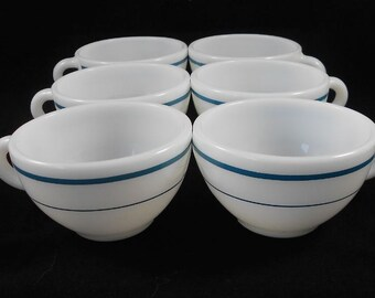 Vintage Anchor Hocking Restaurant Ware Turquoise Stripe Cups – 6 TTL