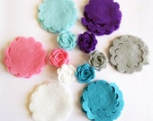 Felt Flower Shapes Unassembled III. 24 pieces, Die Cut Shapes, Applique, Confetti, Party Supply, DIY Wedding
