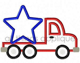 Star Flatbed Truck Applique Design - SATIN Stitch - (#648) - INSTANT DOWNLOAD