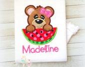 Summer Bear Shirt, Bear with Watermelon Applique, Custom Summer time Shirt, Birthday, Fuzzy Bear