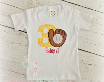 Boys Baseball Birthday Shirt- Baseball Glove- Yellow and Red