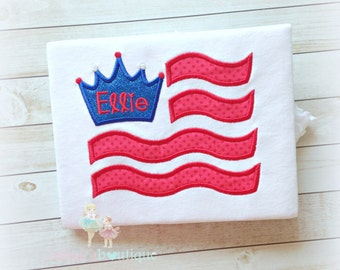 Girls Patriotic Flag with crown Applique Shirt- 4th of July- Red, white, and blue- Personalized Shirt