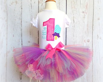 Popsicle Birthday outfit - First birthday tutu outfit - summer birthday - Girls 1st Birthday outfit - Custom embroidered tutu set
