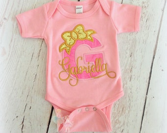 Pink and Gold Monogrammed Baby Bodysuit or Shirt- Gold Bow- Custom embroidery- Shower Gift