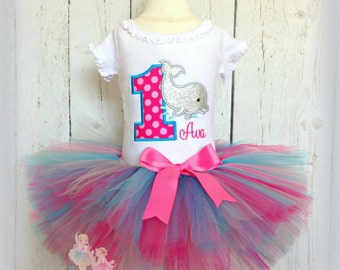 Dolphin birthday outfit - dolphin tutu outfit - 1st birthday outfit for girls - dolphin theme - underwater theme - pink dolphin tutu outfit