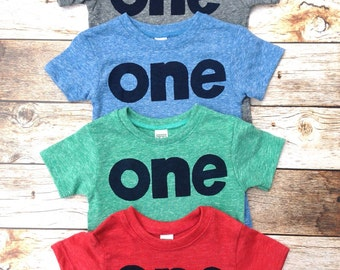 Boys 1st first birthday shirt navy one on red, green, blue or grey birthday tshirt firetruck fire truck barn farm circus pirate sea nautical