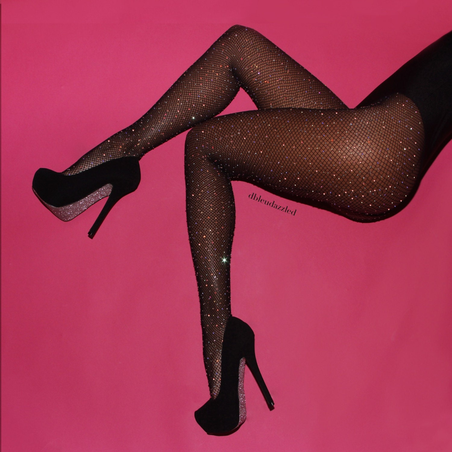 Crystallized black fishnet tights by dbleudazzled for Fish net tights