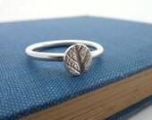 Custom Stacking Ring - Sterling Silver 'Leaf Pattern' Ring, Free UK Postage