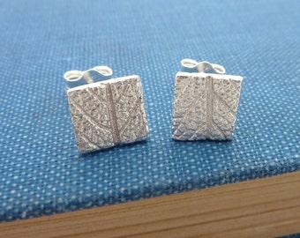 Square Silver 'Leaf Pattern' Earrings - Fine Silver Leaf Earrings on Sterling Silver Posts, Free UK Postage