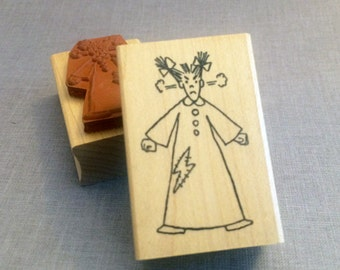 Rubber Stamp Little Lady Steaming