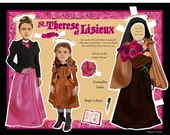 Catholic Saint Therese of Lisieux paper doll A Little Flower digital download print and cut craft project