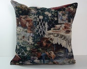 Victorian Pillow Cover, Decorative Pillow Cushion Cover, French Toile Pillow, 18 x 18