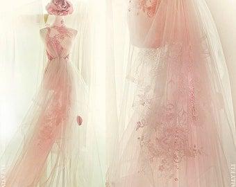Peacock and peonies Wedding Dress / Oriental /Sally F.Li /light pink