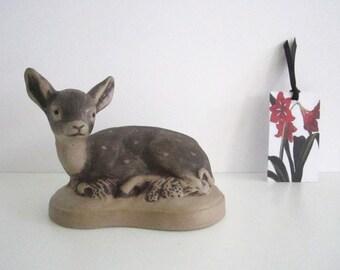 VINTAGE 1970s POOLE pottery deer, fawn - figurine, ornament, Barbara Linley Adams design
